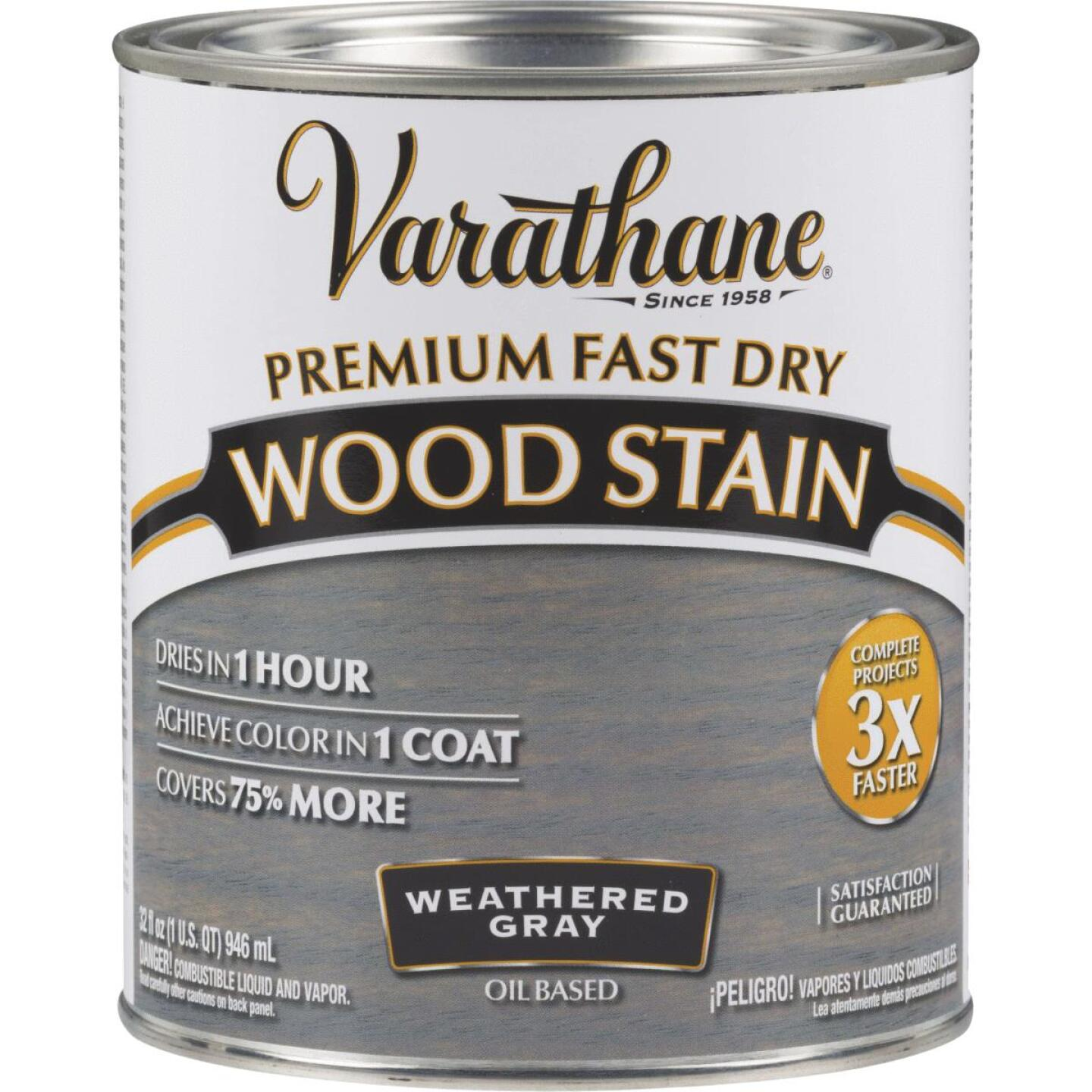 Varathane Fast Dry Weathered Gray Urethane Modified Alkyd Interior Wood Stain, 1 Qt. Image 1